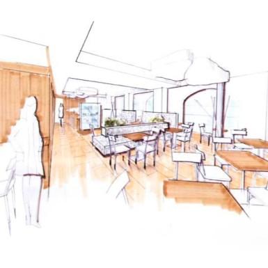 Innenarchitektur skizze cafe  Cafe Haidl - Innenarchitektur Stranger